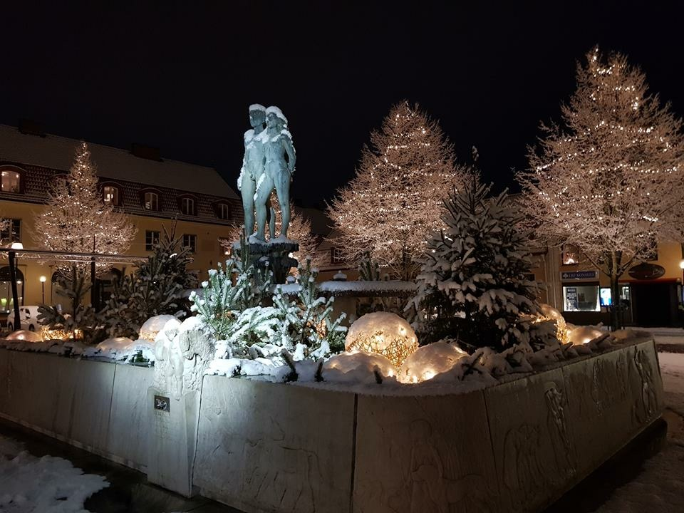 Stad i ljus inför Julen